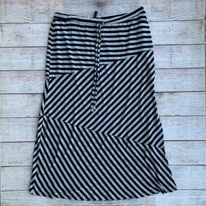 Seven7 Black and Grey Striped Maxi Skirt